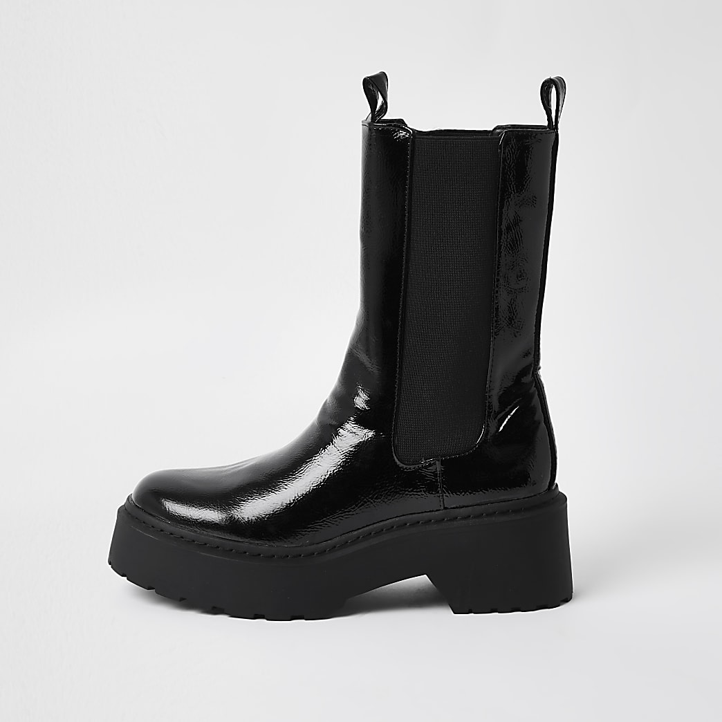 Black faux leather patent chunky boots
