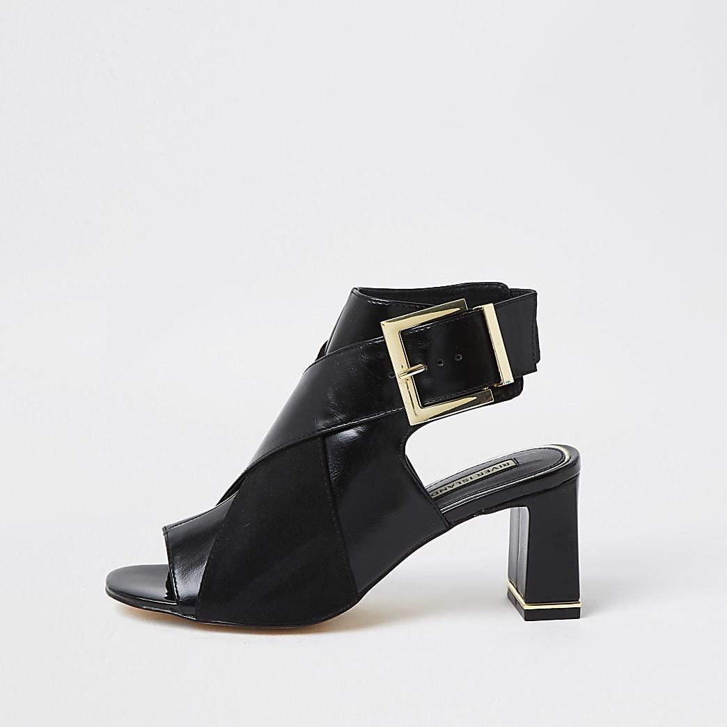 Black faux leather peep toe shoe boot