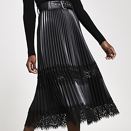 Black Faux leather pleated lace midi skirt