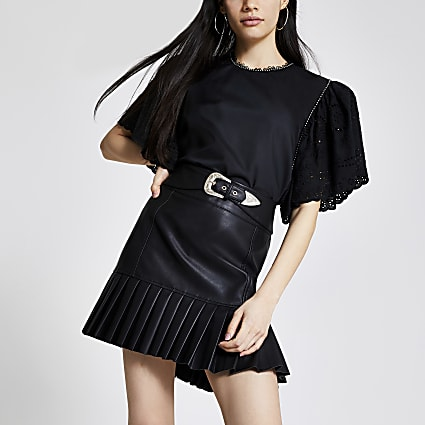 Black faux leather pleated peplum mini skirt