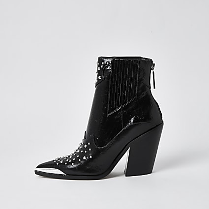 Black faux leather point toe western boots