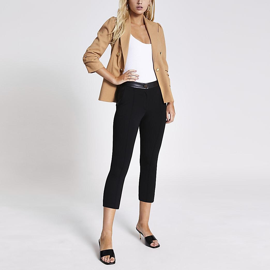 Black faux leather ponte cigarette trousers