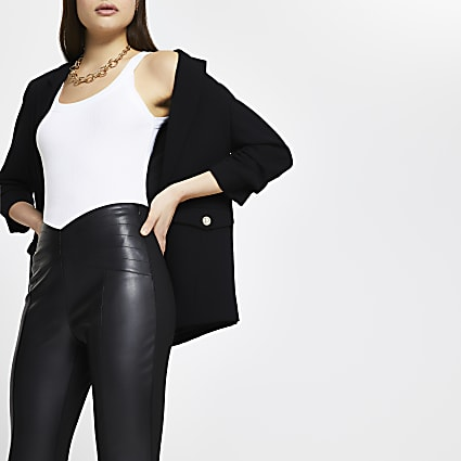 Black faux leather ponte leggings