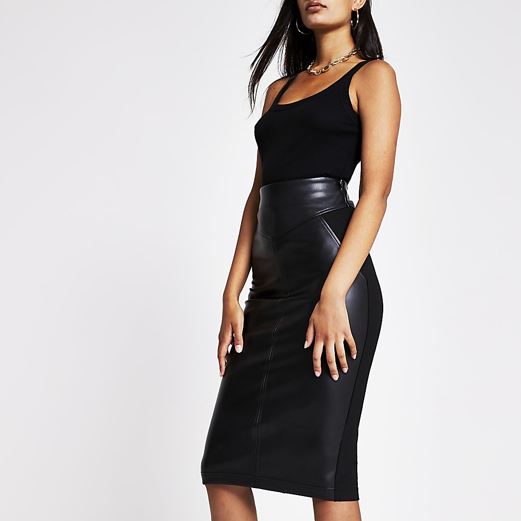 Black faux leather ponte midi pencil skirt