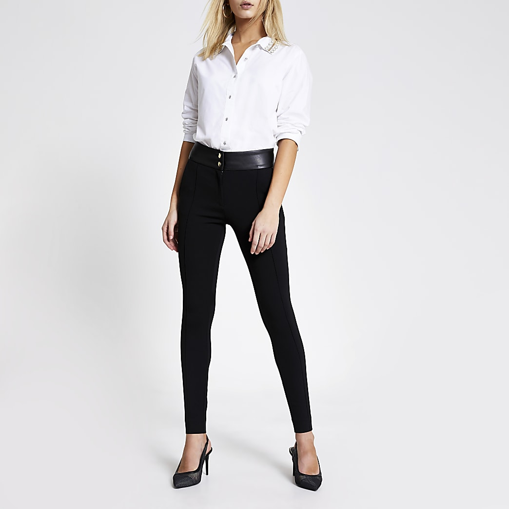 Black faux Leather ponte skinny trousers