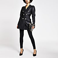 Black faux leather puff sleeve belted blazer