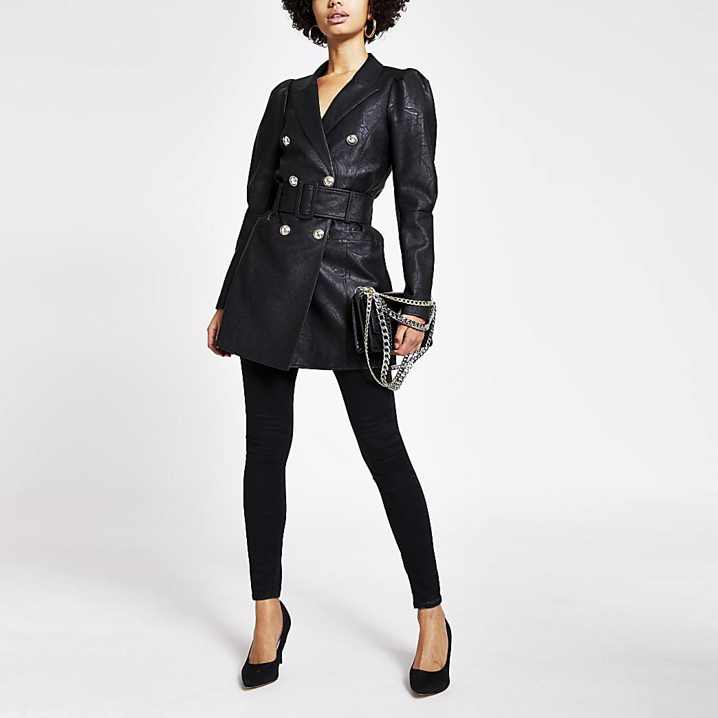 Schwarze Jacke aus Lederimitat mit Puffärmeln und Taillengürtel