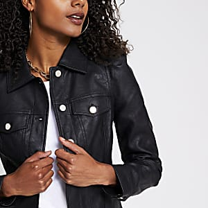 Black faux leather puff sleeve jacket