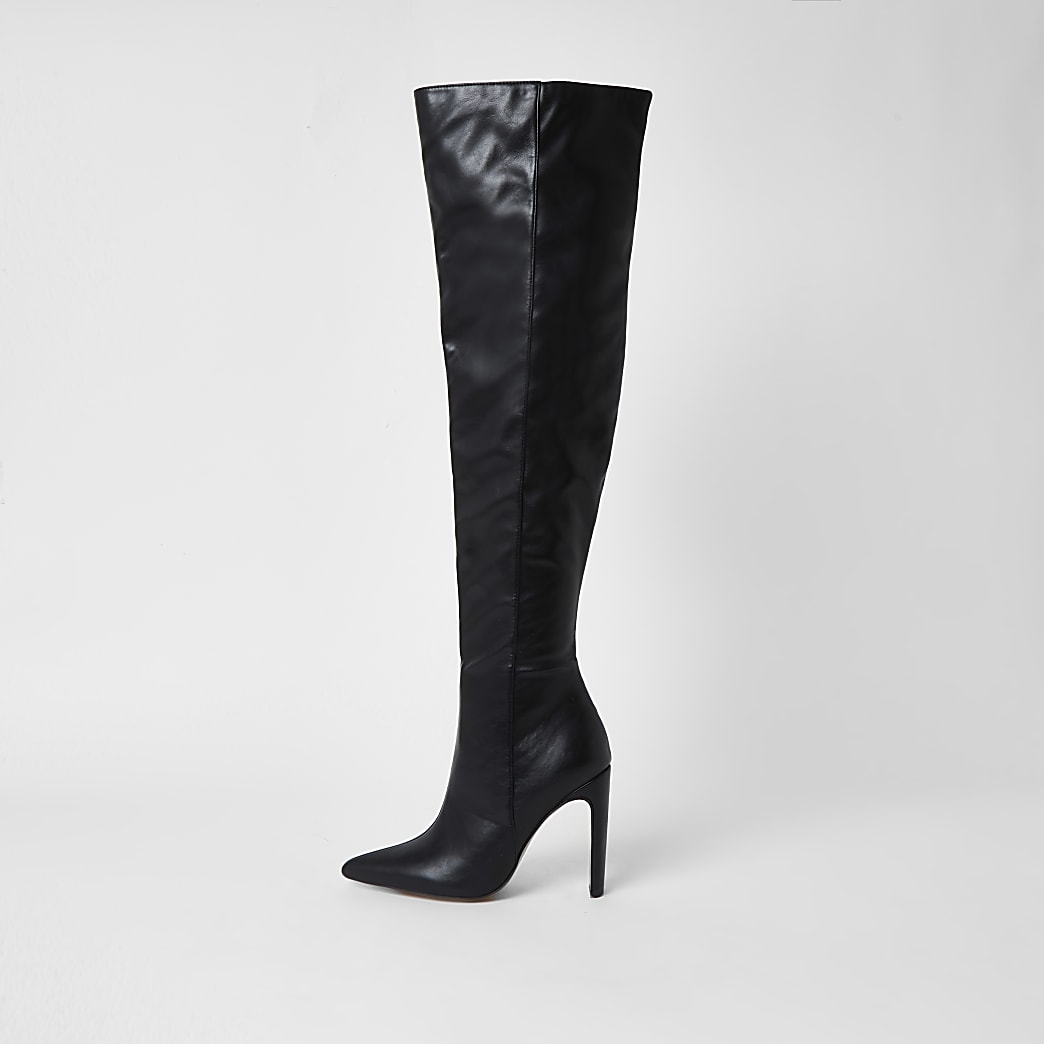 Black faux leather pull on high leg boots