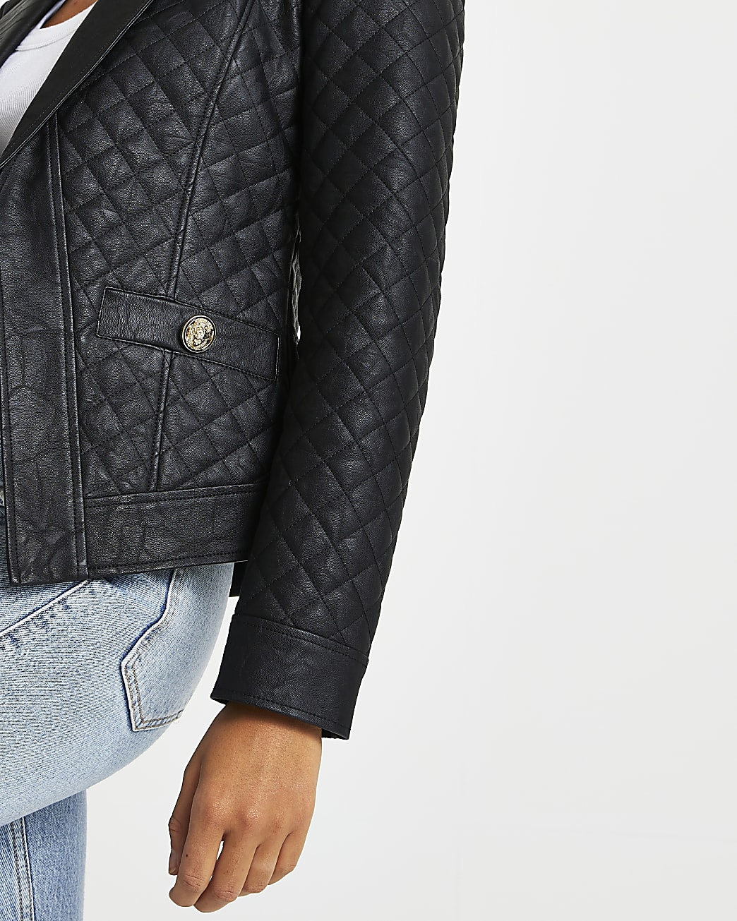 Black faux leather quilted blazer