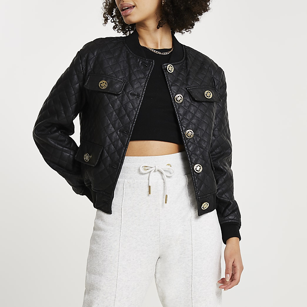 Black faux leather quilted bomber jacket