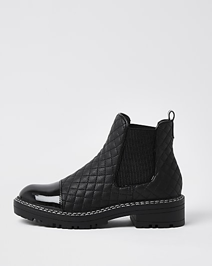 Black faux leather quilted chelsea boots