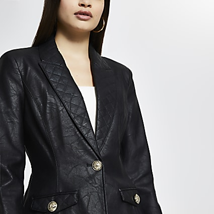 Black Faux leather quilted detail blazer