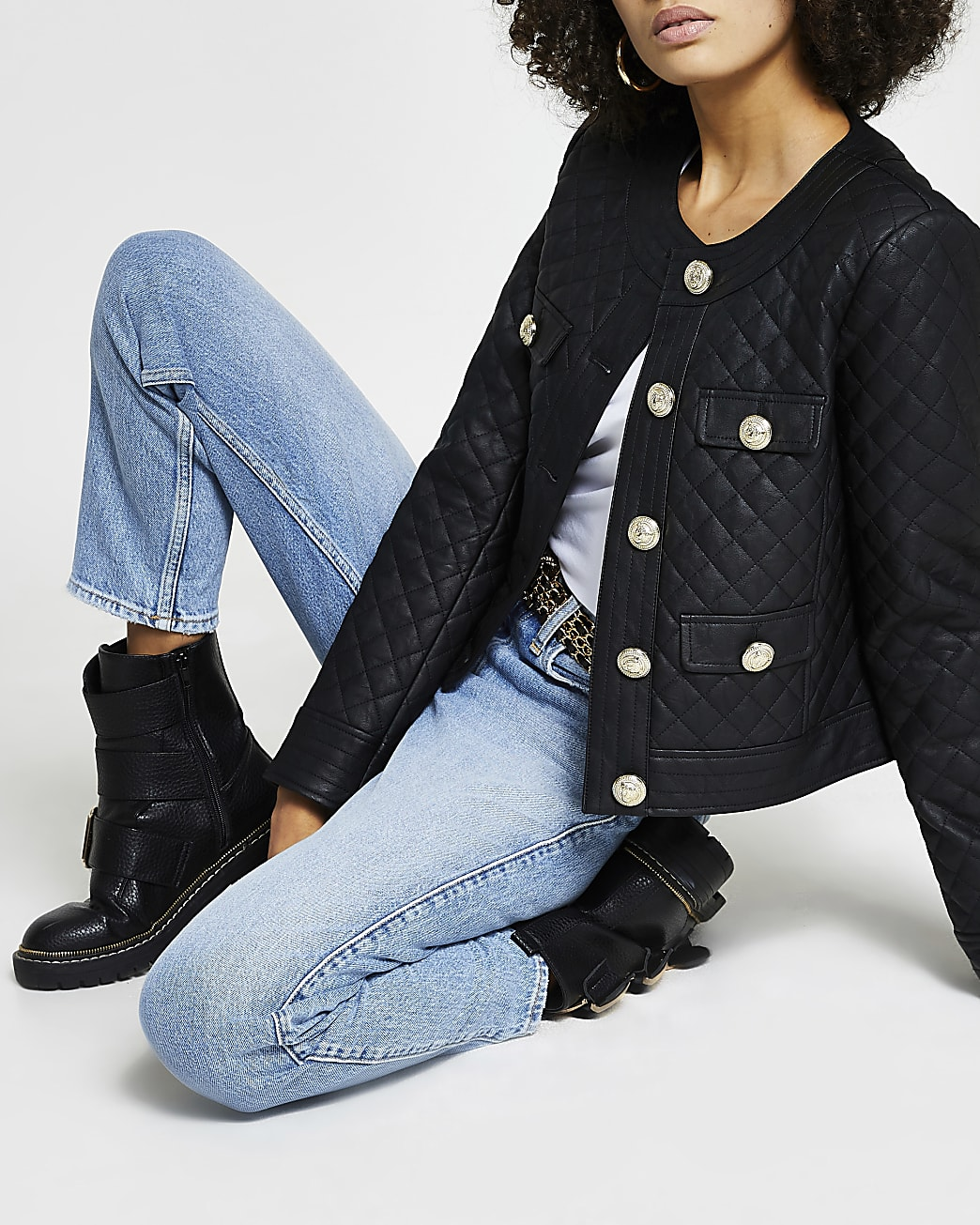 Black faux leather quilted jacket