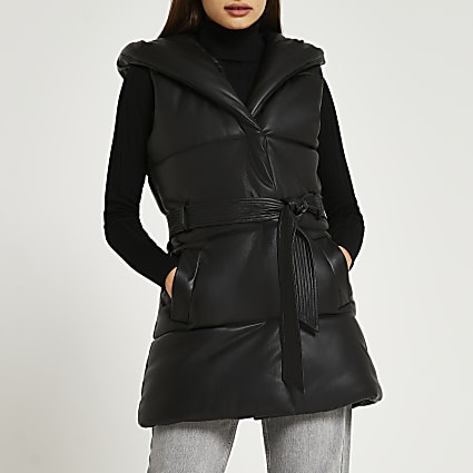Black faux leather quilted padded gilet