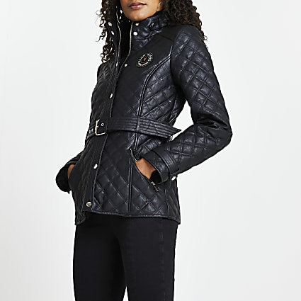 Black faux leather quilted padded jacket