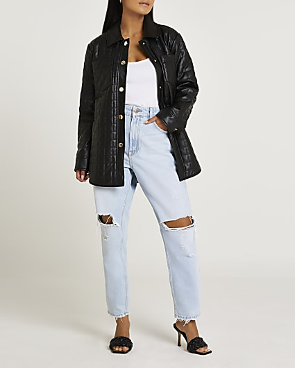 Black faux leather quilted shacket