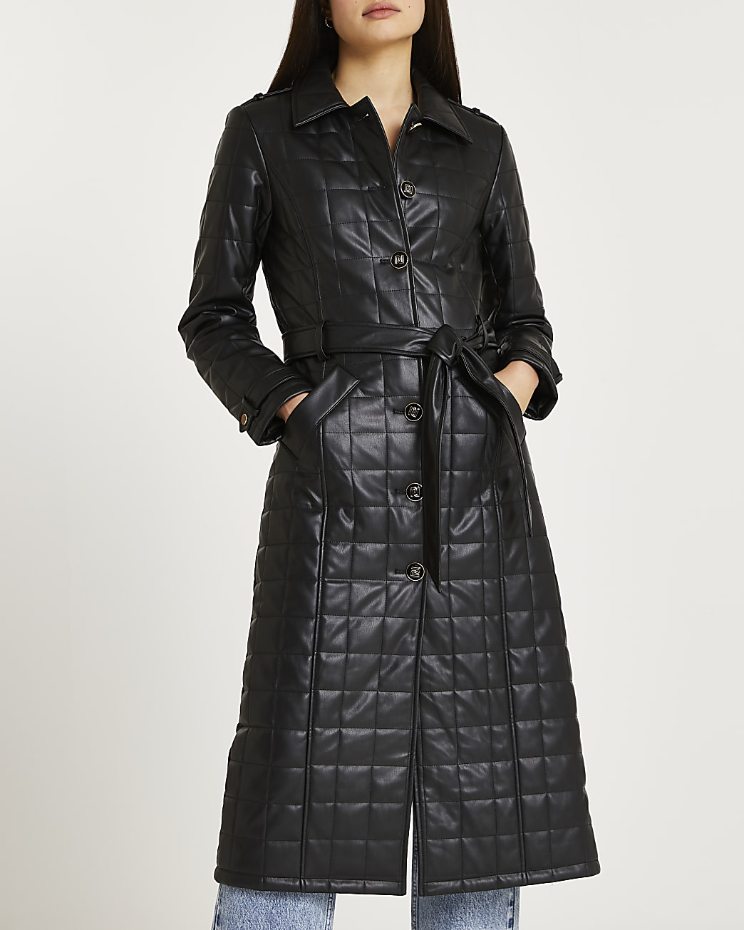Black faux leather quilted trench coat