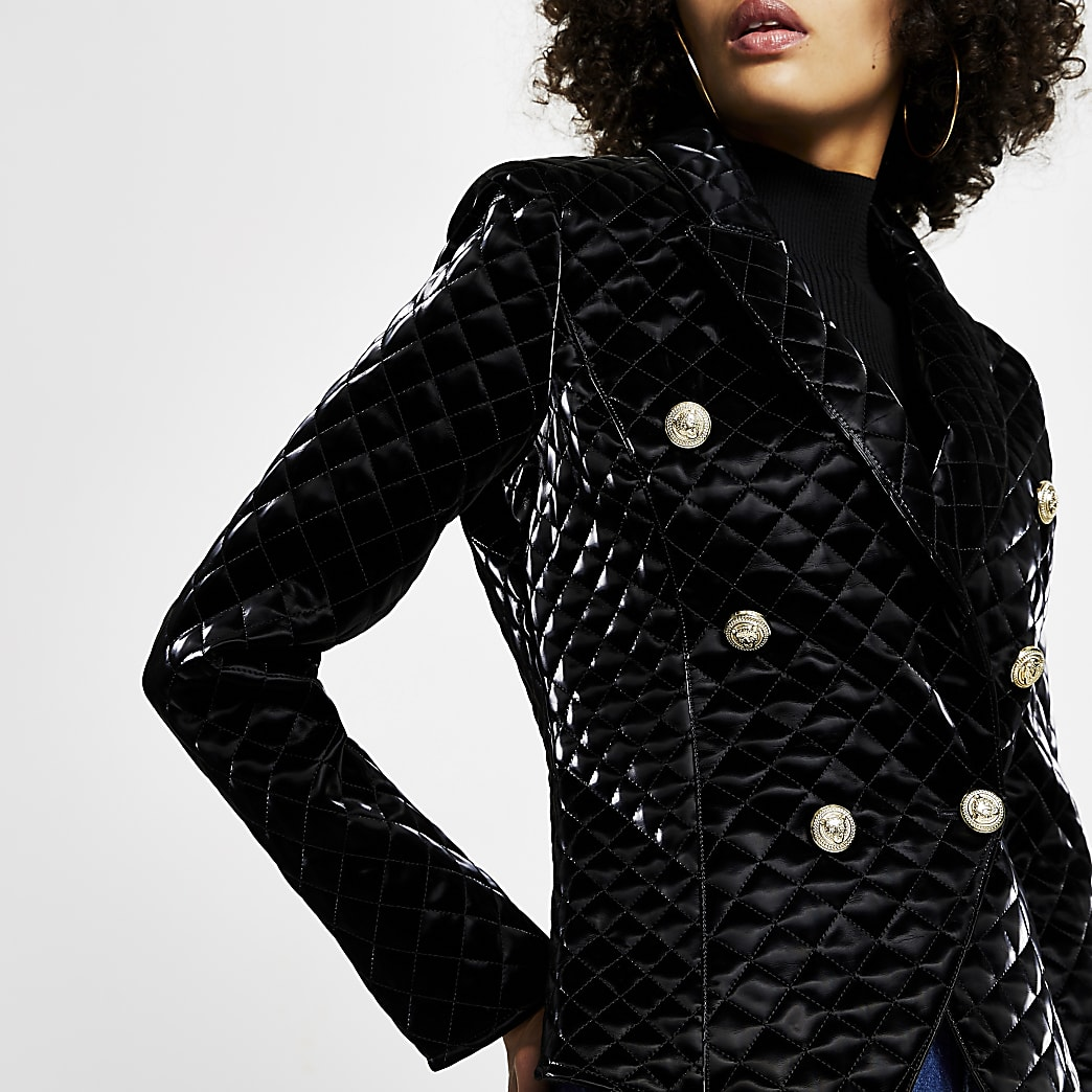 Black Faux Leather quilted vinyl blazer