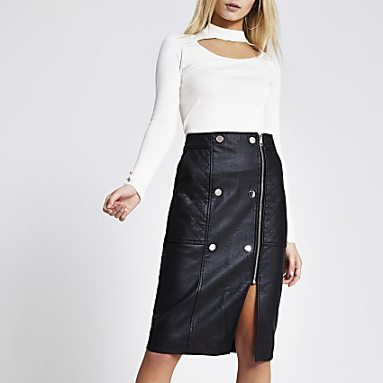 Black faux leather quilted zip midi skirt