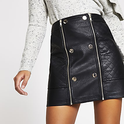Black faux leather quilted zip mini skirt