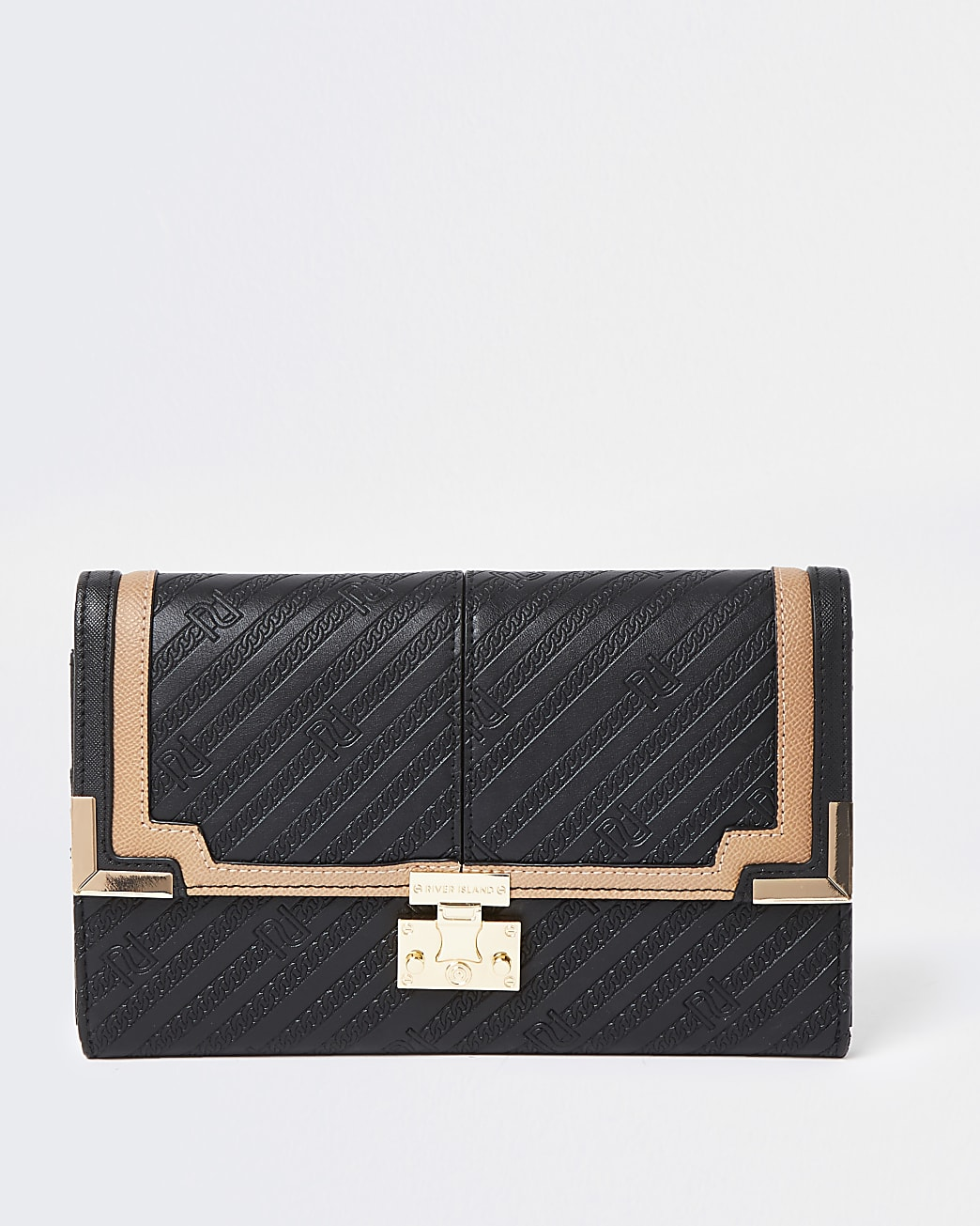 Black faux leather RI embossed travel wallet