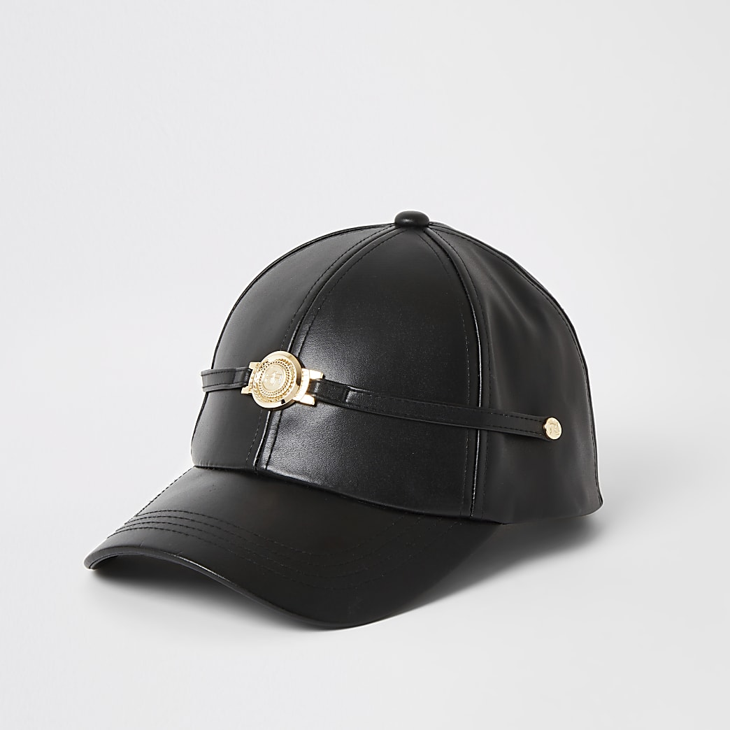 Black faux leather RI hat