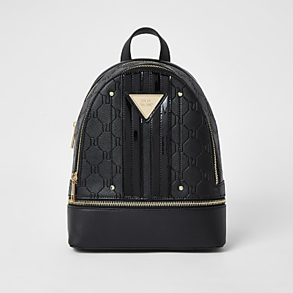 Black faux leather RI monogram backpack