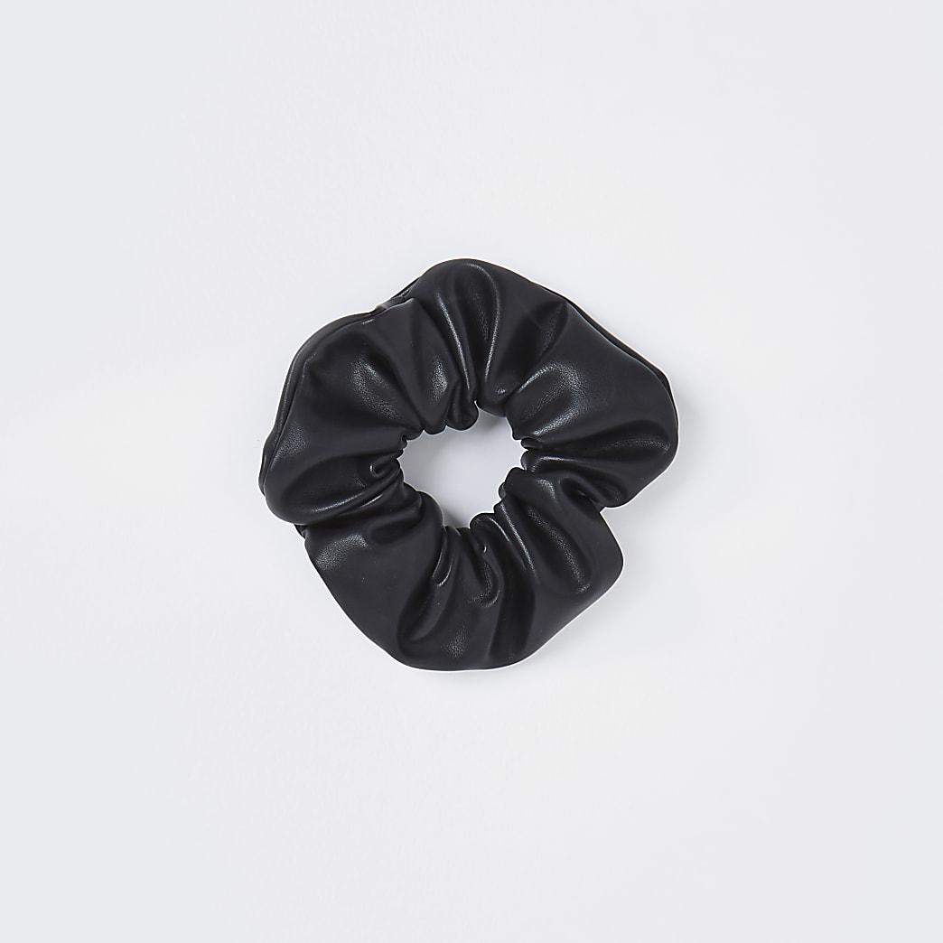 Black faux leather scrunchie