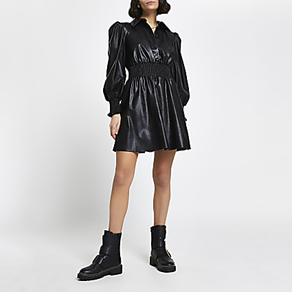Black faux leather shirred waist shirt dress