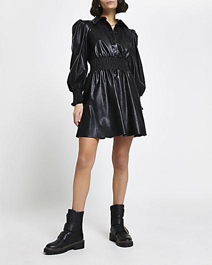Black faux leather shirred waist shirt dress