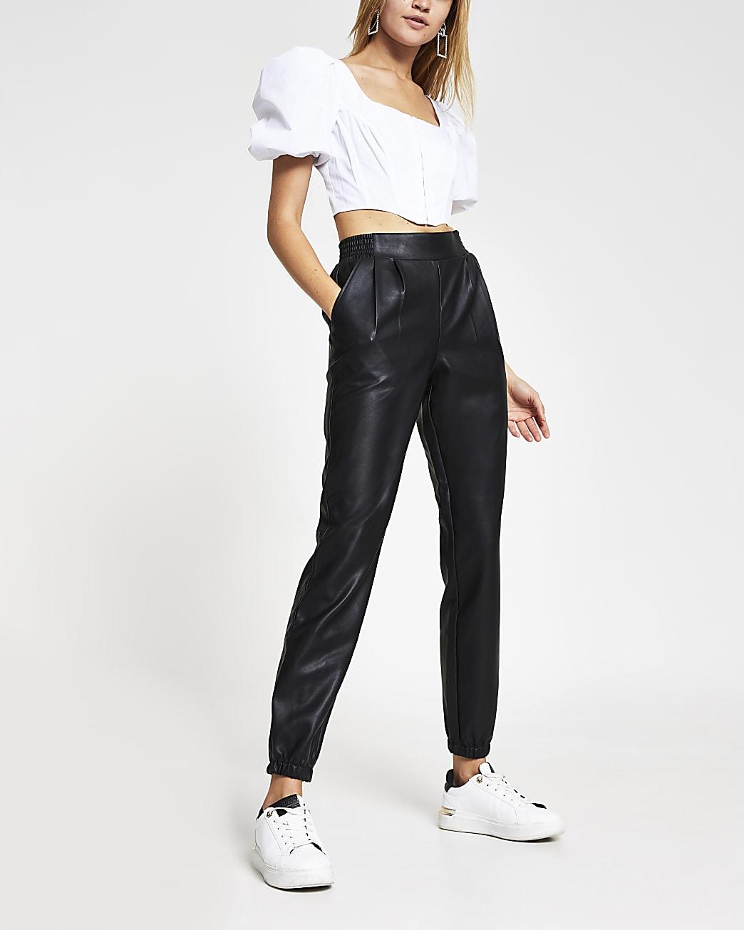 Black faux Leather Slim Joggers