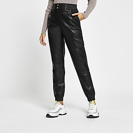 Black faux leather slim leg joggers