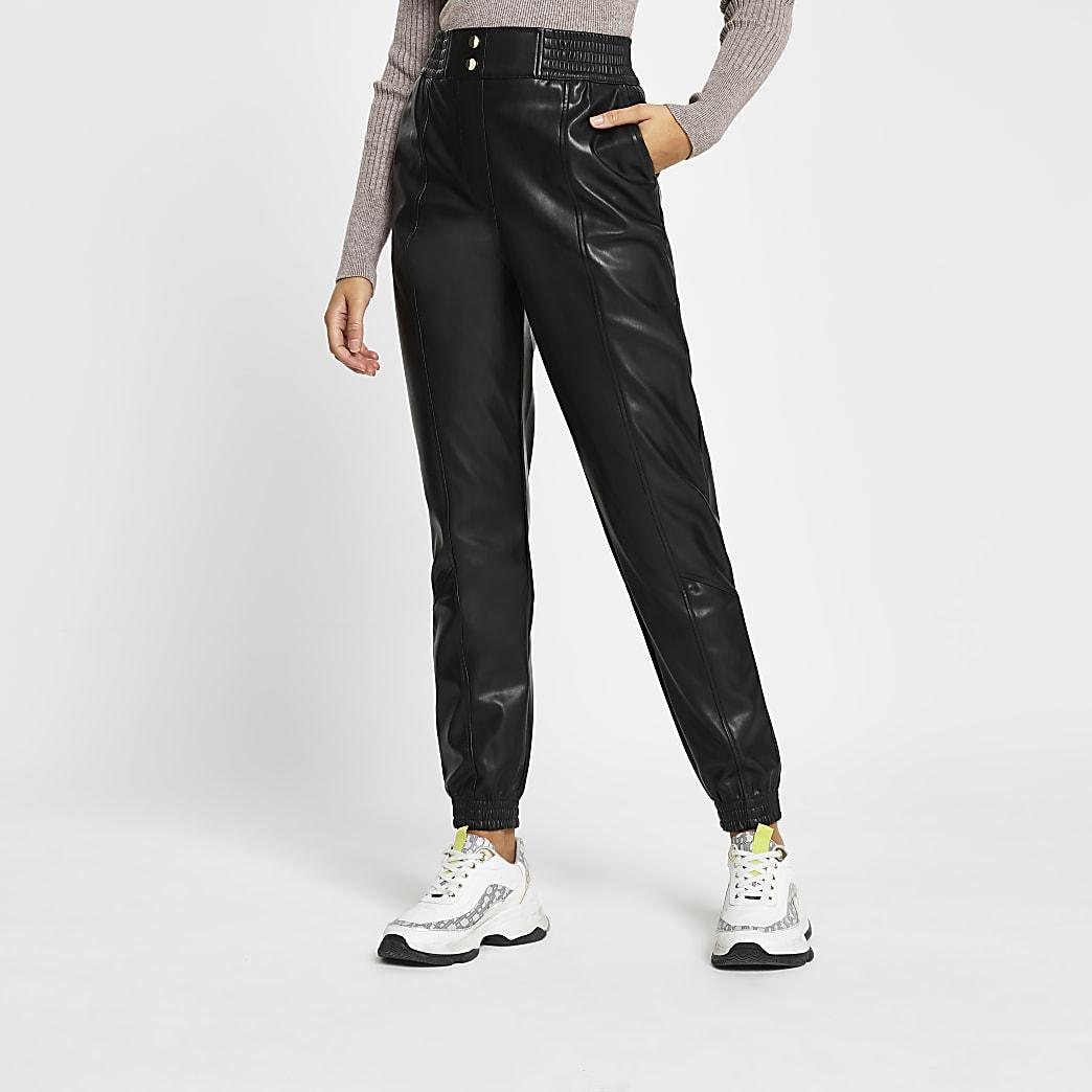 Black faux leather slim leg joggers