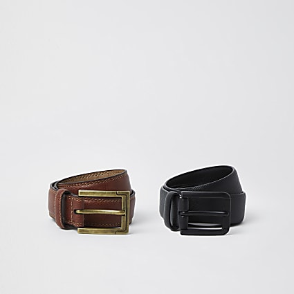 Black faux leather smart belts 2 pack