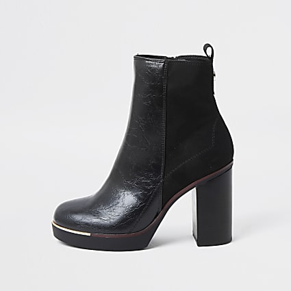 Black faux leather smart platform ankle boots