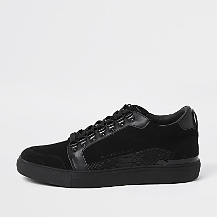 Black faux leather snake detail trainers