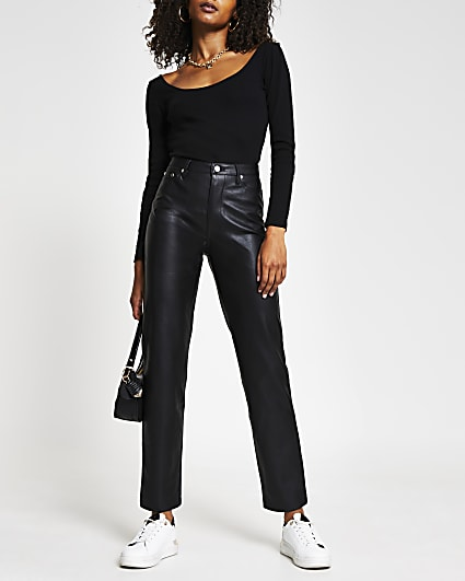 Black faux leather straight fitted trousers