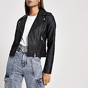 Black faux leather studded biker jacket