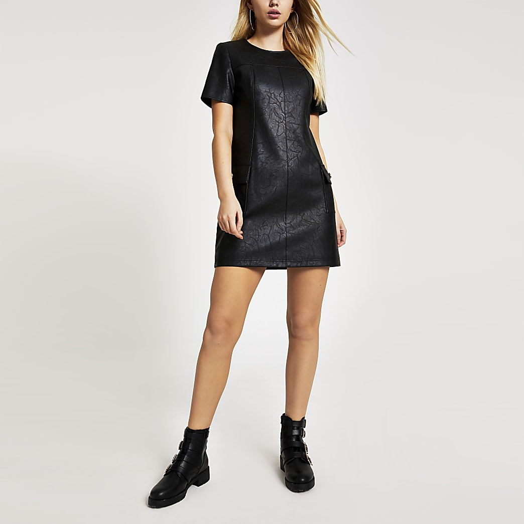 Black faux leather swing mini dress
