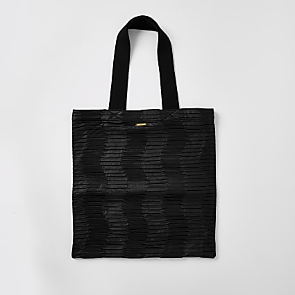 Black faux leather textured tote bag