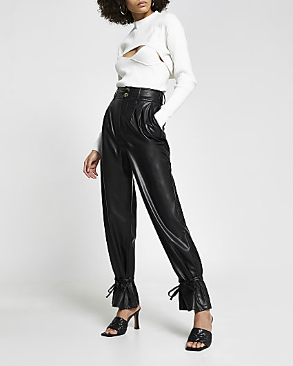 Black faux leather tie bottom trousers