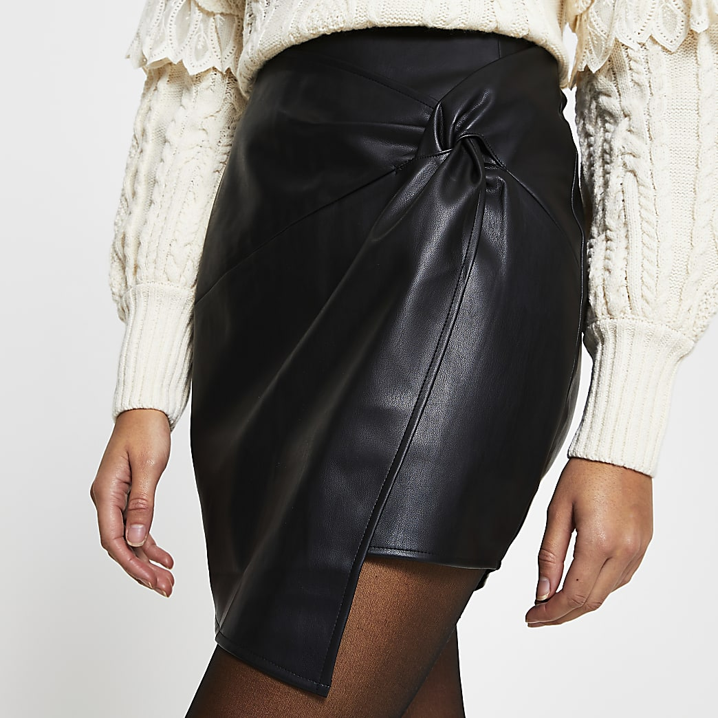 Black Faux leather twist front mini skirt