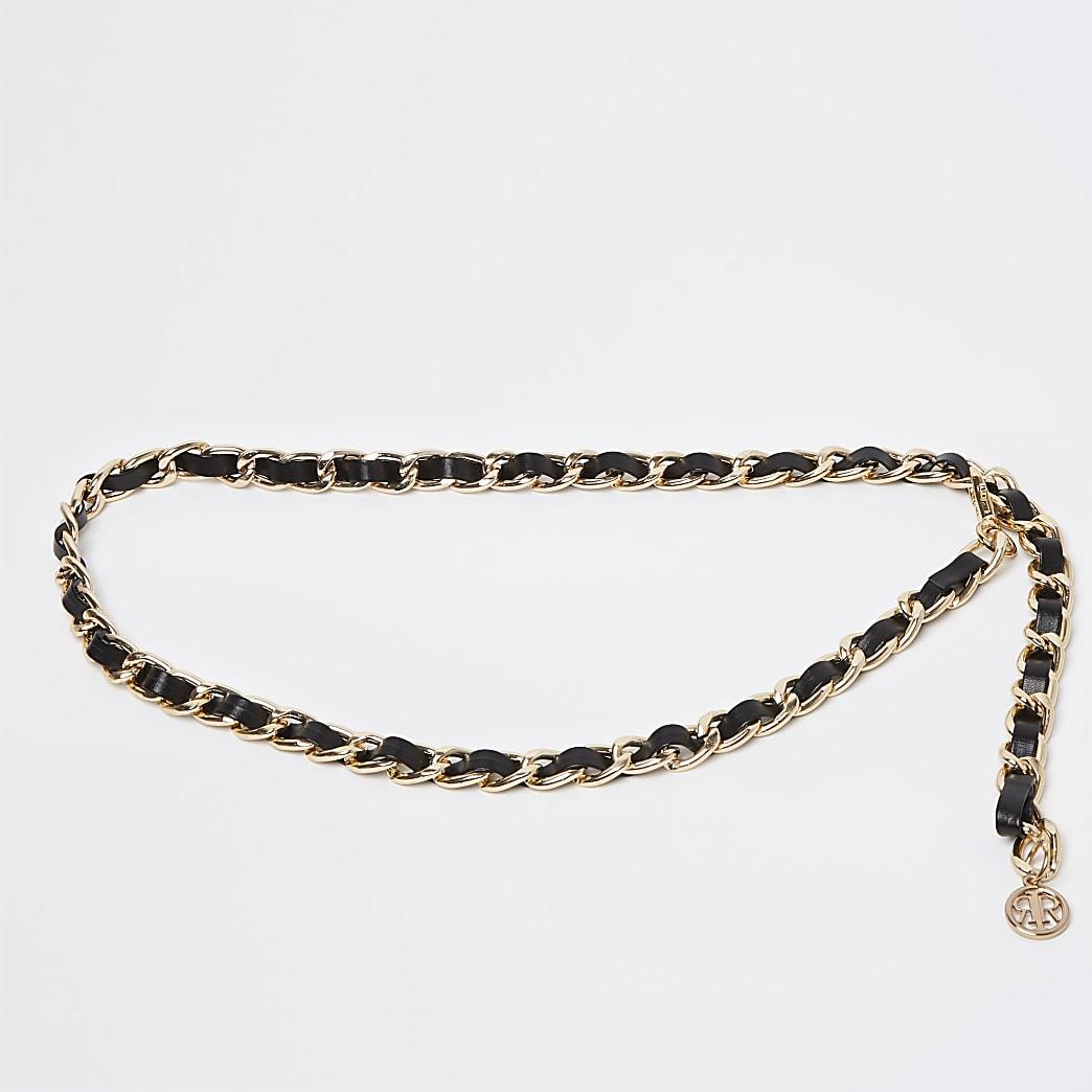 Black faux leather weave chain belt