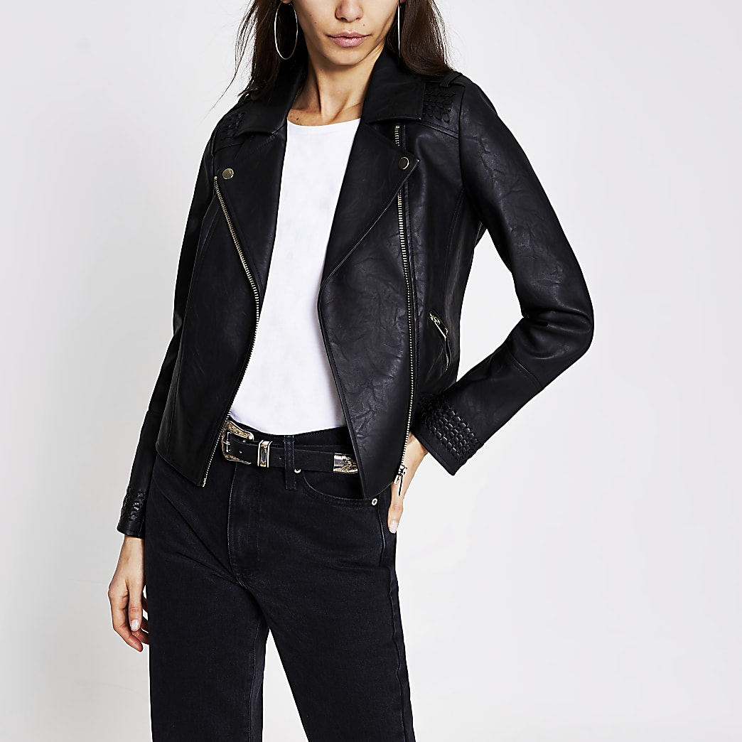 Black faux leather whipstitch biker jacket