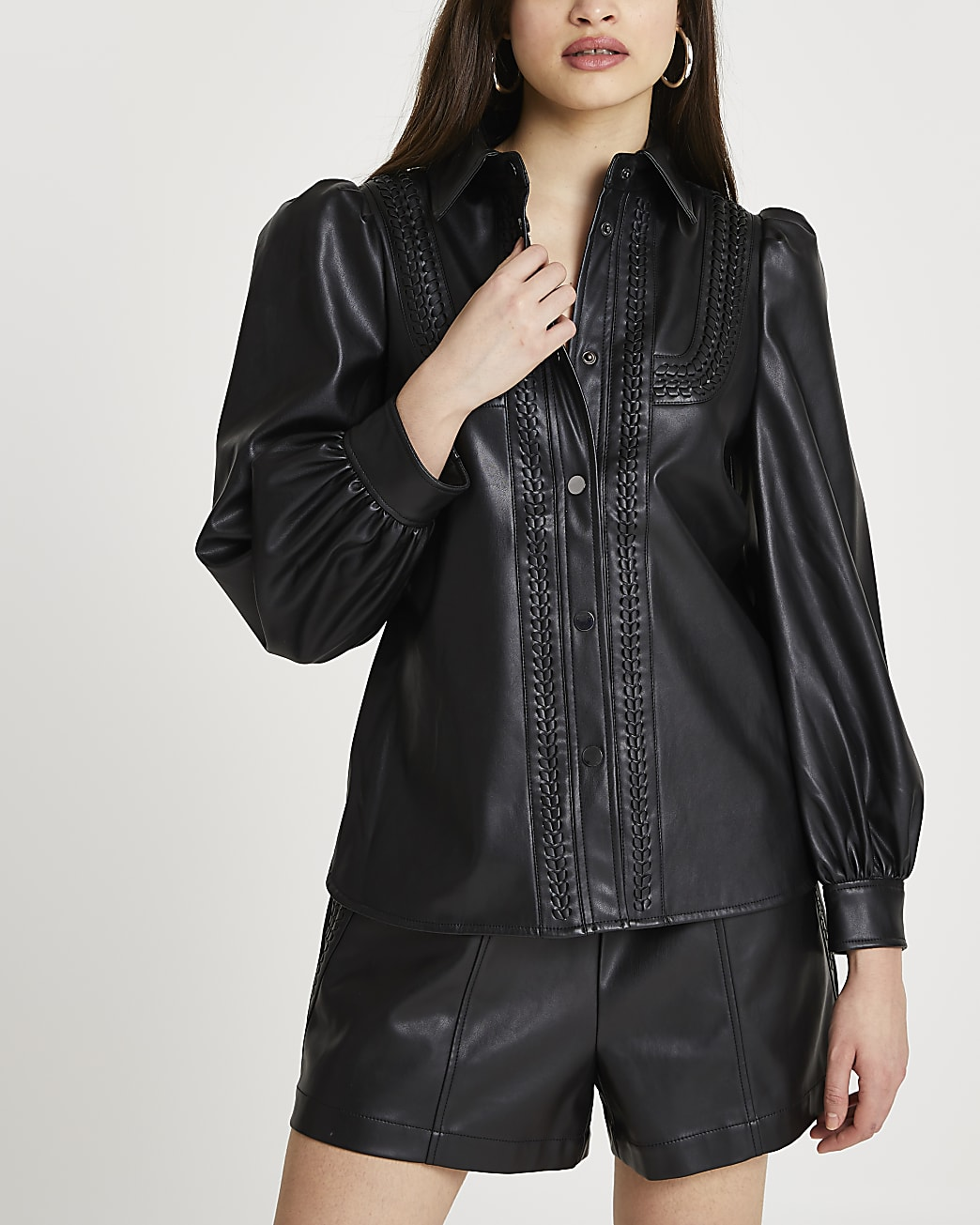 Black faux leather whipstitch overshirt