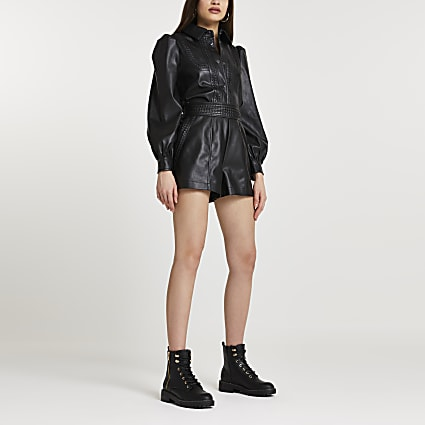 Black faux leather whipstitch shorts