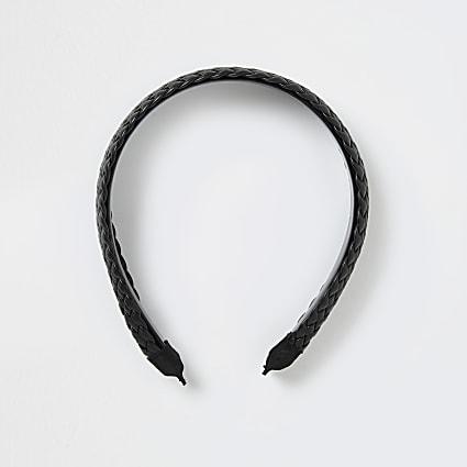 Black faux leather woven headband