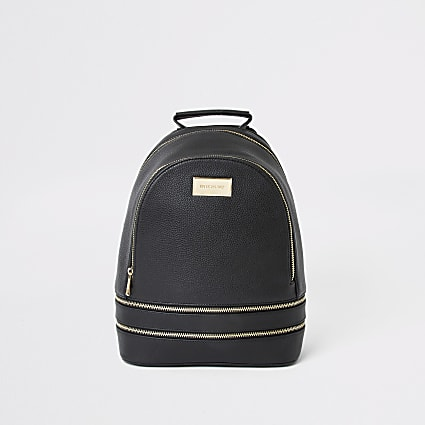 Black faux leather zip bottom backpack