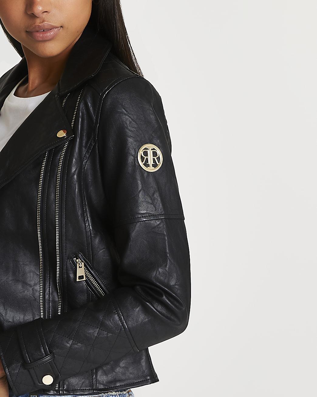 Black faux leather zip detail jacket